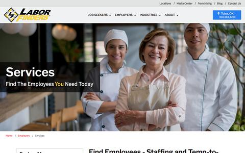 Screenshot of Services Page laborfinders.com - Staffing & Temp to Hire Services - Find Employees | Labor Finders - captured July 15, 2018