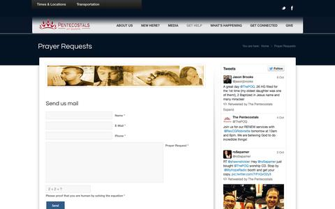 Screenshot of Contact Page ilovechurch.ca - The Pentecostals of Quinte |   Prayer Requests - captured Oct. 7, 2014