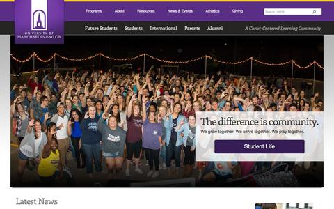 Screenshot of Home Page umhb.edu - Christian University, Christian College Scholarship, Nursing Degree - captured Dec. 4, 2015