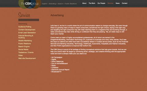 Screenshot of Services Page cbkgroup.com - Top advertising agency NJ Top Marketing Firm NY | The CBK Group - captured Oct. 6, 2014