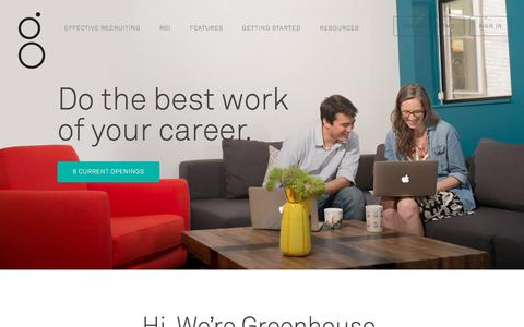 Screenshot of Jobs Page greenhouse.io - Recruiting Software - Applicant Tracking System | Greenhouse Software - captured April 8, 2016