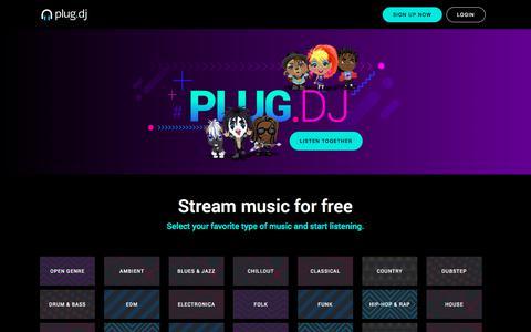 Screenshot of Home Page plug.dj - join the party!    - plug.dj - captured Sept. 21, 2018