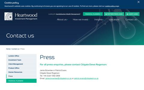 Screenshot of Press Page heartwoodgroup.co.uk - Heartwood Investment Management | Press - captured Nov. 6, 2016