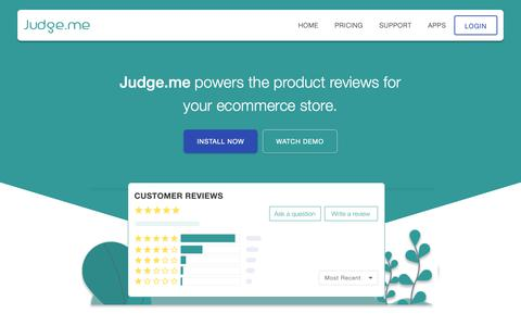 Screenshot of Home Page judge.me - Judge.me Product Reviews - captured May 13, 2019