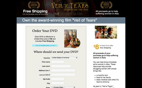 Screenshot of Landing Page gfa.org - Veil of Tears DVD - Own the DVD Today for only $8 shipped! #veiloftears - Gospel for Asia - captured Oct. 27, 2014