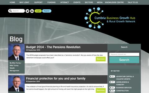 Screenshot of Blog cumbriagrowthhub.co.uk captured Oct. 3, 2014