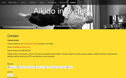 Screenshot of Contact Page aikidoinsydney.com - Contact   Aikido in Sydney - captured Oct. 30, 2018