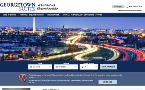 Screenshot of Signup Page georgetownsuites.com - Email Sign Up - captured July 17, 2018