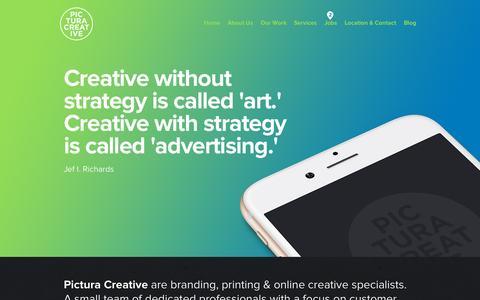 Screenshot of Home Page pictura.com.au - Branding and Identity Design - Graphic Design - Logo Design - Brochure Design - Sydney - Pictura Creative - captured Sept. 18, 2015