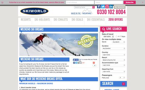 Weekend Ski Holidays and Short Breaks | Skiworld