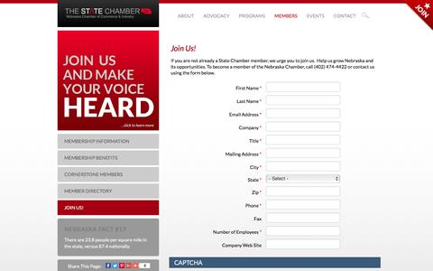 Screenshot of Signup Page nechamber.net - Join Us! | Nebraska Chamber of Commerce & Industry - captured May 23, 2016