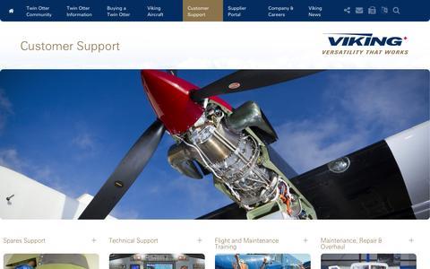 Screenshot of Support Page vikingair.com - Customer Support | Viking Air - captured Jan. 13, 2016