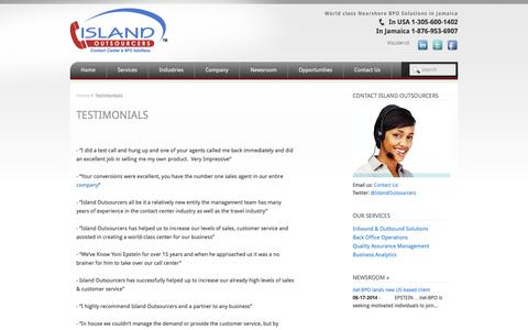Screenshot of Testimonials Page islandoutsourcers.com - Testimonials | Island Outsourcers - captured Sept. 30, 2014