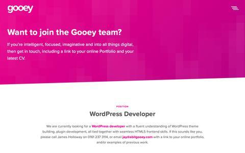 Screenshot of Jobs Page abitgooey.com - Careers - Gooey - captured Sept. 29, 2018