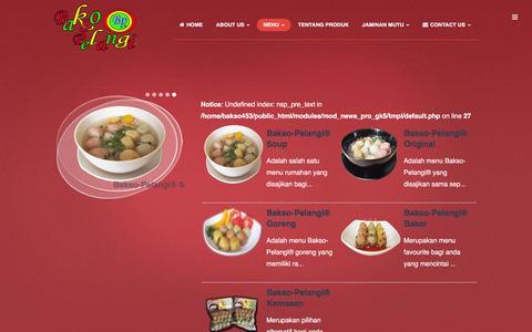 Screenshot of Menu Page baksopelangi.net - Menu - www.baksopelangi.net - captured Feb. 7, 2016