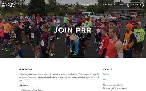 Screenshot of Signup Page palouseroadrunners.org - Join Us — Palouse Road Runners - captured Oct. 22, 2018