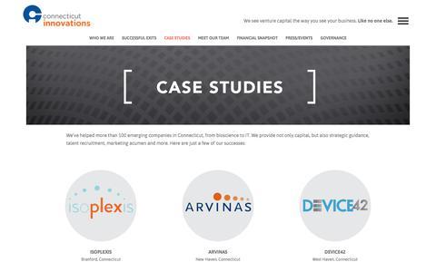 Screenshot of Case Studies Page ctinnovations.com - Case Studies   Connecticut Innovations - captured Aug. 23, 2017