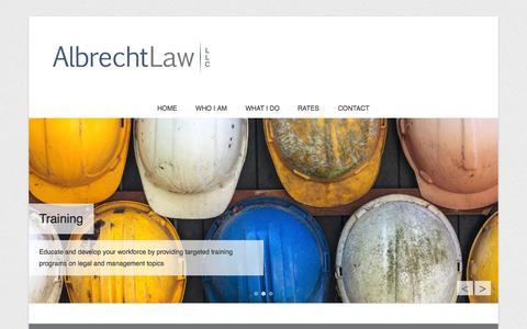 Screenshot of Home Page Menu Page albrechtconstructionlaw.com - Albrecht Law LLC - captured Oct. 4, 2014