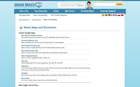 Screenshot of Maps & Directions Page miamibeach411.com - Miami Maps and Directions - Find Maps of Miami Beach, Florida - captured Oct. 27, 2014