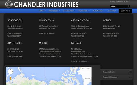Screenshot of Locations Page chandlerindustries.com - Locations - captured Sept. 29, 2014