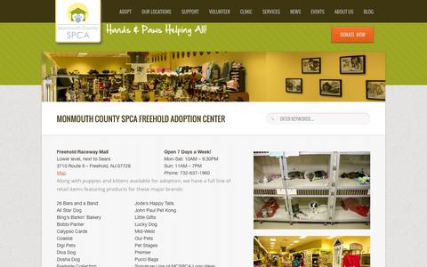 Screenshot of Hours Page monmouthcountyspca.org - Freehold Adoption Center - Monmouth County SPCA - Monmouth County SPCA - captured Oct. 9, 2014