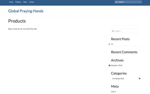 Screenshot of Products Page globalprayinghands.com - Products – Global Praying Hands - captured Nov. 24, 2016