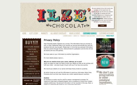 Screenshot of Privacy Page ilzeschocolat.com - Ilze's Chocolat - Privacy Policy - captured Sept. 30, 2014
