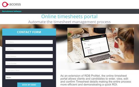 Screenshot of Landing Page theaccessgroup.com - Contact Us - captured April 9, 2018