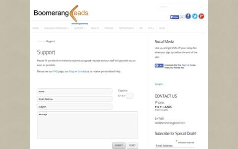 Screenshot of Support Page boomerangleads.com - Support | Real Estate Leads | Affordable real estate leads for Brokers and Agents. - captured Sept. 30, 2014