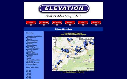 Screenshot of Locations Page elevationoutdoortenn.com - Locations - captured Oct. 2, 2014