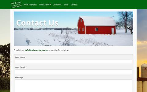 Screenshot of Contact Page pafarmstay.com - Contact Us - PA Farm Stay - captured July 8, 2017