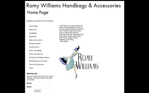 Screenshot of Home Page romywilliams.co.uk - Romy Williams Handbags & Accessories - Home Page - captured Oct. 9, 2014