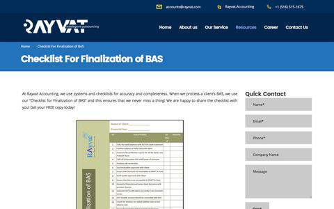 Checklist For Finalization of BAS - Rayvat Accounting