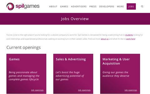 Screenshot of Jobs Page spilgames.com - Jobs Overview - Spil Games - captured July 13, 2018