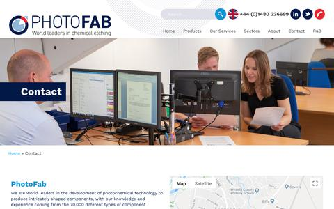 Screenshot of Contact Page photofab.co.uk - Contact - Photofab - captured Oct. 3, 2019