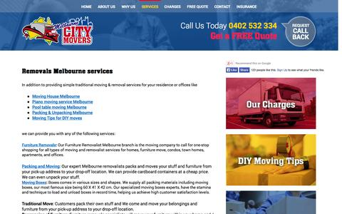 Screenshot of Services Page melbournecitymovers.com.au - Furniture Removals | Moving Boxes | Moving House - captured Oct. 31, 2014