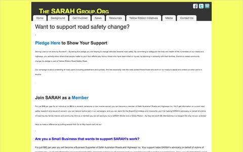 Screenshot of Support Page sarahgroup.org - Want to support road safety change? | The SARAH Group.Org - captured March 7, 2016