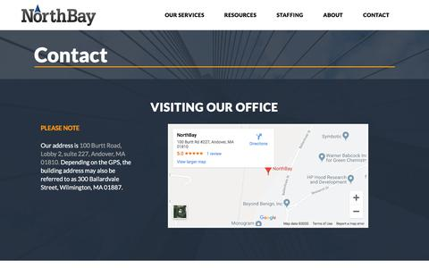 Screenshot of Contact Page northbaysolutions.com - Contact - NorthBay | AWS - Advanced Consulting Partner - captured Jan. 6, 2020