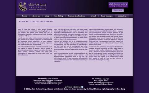 Screenshot of Privacy Page clairdelunekc.com - Variety of bra sizes at clair de lune - captured Oct. 3, 2014