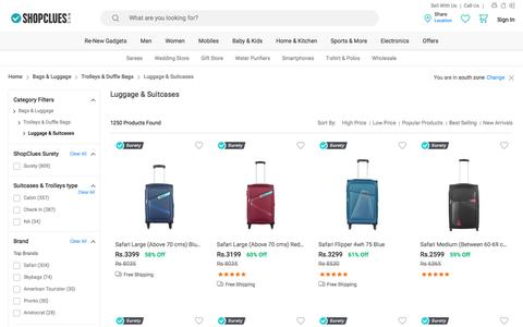 Screenshot of shopclues.com - Suitcases & Trolleys: Buy Suitcases & Trolleys Bags Online at Best Prices in India - captured May 25, 2017