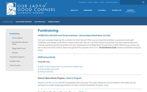 Screenshot of Support Page olgcschool.org - Fundraising - Our Lady of Good Counsel School - captured Feb. 3, 2018