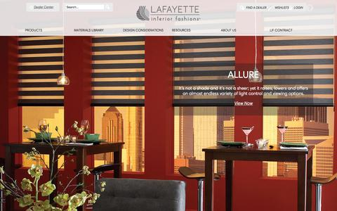 Screenshot of Home Page lafvb.com - Shades, Blinds, Drapes, and Shutters | Lafayette Interior Fashions - captured Jan. 24, 2016