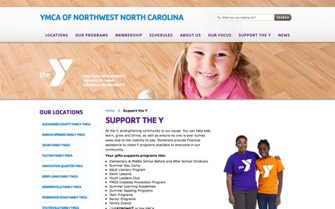 Screenshot of Support Page ymcanwnc.org - Support the Y «  YMCA of Northwest North Carolina - captured Sept. 25, 2014