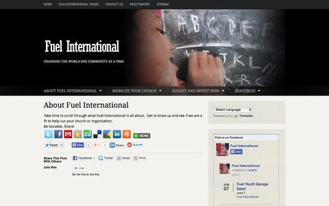 Screenshot of About Page fuel.org - About Fuel International | Fuel International | Changing the World One Community at a Time - captured Oct. 1, 2014