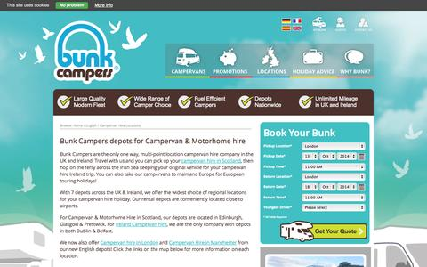 Screenshot of Locations Page bunkcampers.com - Bunk Campers Campervan & Motorhome Hire Locations - captured Oct. 10, 2014