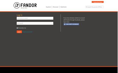 Screenshot of Login Page fandor.com - Log in - captured Sept. 25, 2014