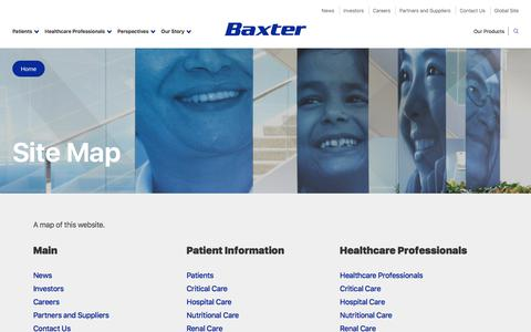 Screenshot of Site Map Page baxter.com - Site Map | Baxter - captured May 19, 2018