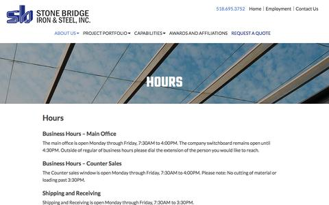 Screenshot of Hours Page stonebridgeiron.com - Stone Bridge Iron & Steel Business Hours - captured Nov. 11, 2017