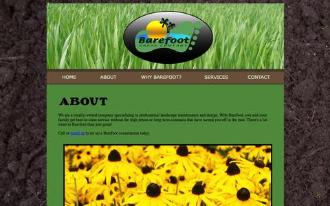 Screenshot of About Page barefootgrass.net - About Barefoot Grass Company - captured Oct. 5, 2014