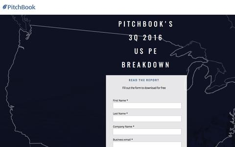 Screenshot of Landing Page pitchbook.com - PitchBook 3Q 2016 US PE Breakdown - captured July 22, 2017